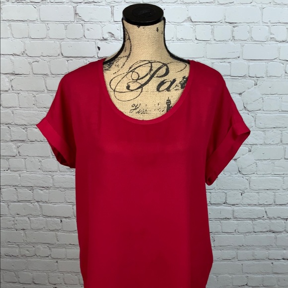 db46b5a3973 Pleione Short Sleeve Red Blouse Size L